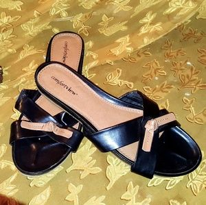 Comfortview flat sandals tan and black 10w